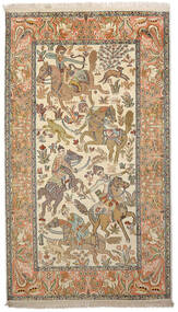 Kashmir Ren Silke Teppe 91X159 Ekte Orientalsk Håndknyttet Mørk Beige/Beige (Silke, India)