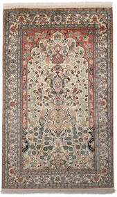 Kashmir Ren Silke Teppe 94X153 Ekte Orientalsk Håndknyttet Lys Grå/Mørk Grå (Silke, India)