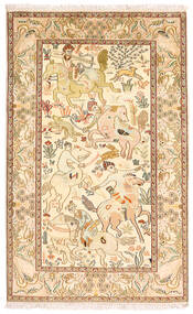 Kashmir Ren Silke Teppe 94X152 Ekte Orientalsk Håndknyttet Brun/Gul (Silke, India)