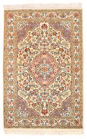 Kashmir Ren Silke Teppe 62X93 Ekte Orientalsk Håndknyttet Beige/Mørk Beige (Silke, India)