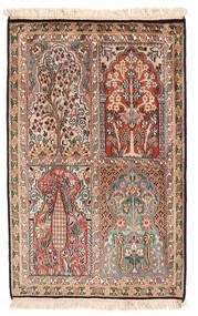 Kashmir Ren Silke Teppe 62X96 Ekte Orientalsk Håndknyttet Mørk Brun/Lysbrun (Silke, India)
