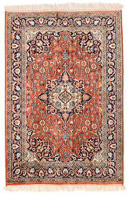 Kashmir Ren Silke Teppe 62X91 Ekte Orientalsk Håndknyttet Beige/Mørk Lilla (Silke, India)