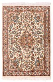 Kashmir Ren Silke Teppe 64X94 Ekte Orientalsk Håndknyttet Gul/Mørk Brun (Silke, India)