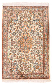 Kashmir Ren Silke Teppe 63X98 Ekte Orientalsk Håndknyttet Gul/Lyserosa (Silke, India)