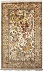 Kashmir Ren Silke Teppe 94X152 Ekte Orientalsk Håndknyttet Brun/Mørk Beige (Silke, India)