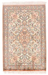 Kashmir Ren Silke Teppe 64X97 Ekte Orientalsk Håndknyttet Gul/Mørk Brun (Silke, India)