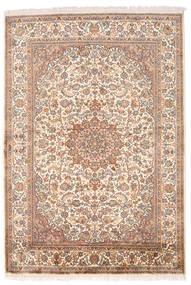 Kashmir Ren Silke Teppe 126X185 Ekte Orientalsk Håndknyttet Brun/Lyserosa (Silke, India)
