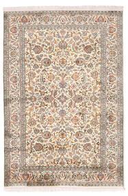 Kashmir Ren Silke Teppe 126X184 Ekte Orientalsk Håndknyttet Lys Grå/Gul (Silke, India)