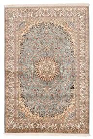 Kashmir Ren Silke Teppe 127X188 Ekte Orientalsk Håndknyttet Beige/Mørk Brun (Silke, India)