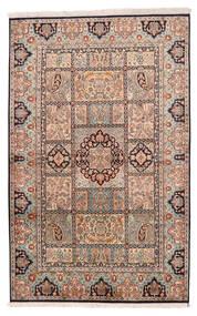 Kashmir Ren Silke Teppe 128X201 Ekte Orientalsk Håndknyttet Lys Grå/Mørk Brun (Silke, India)
