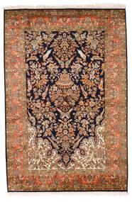 Kashmir Ren Silke Teppe 129X194 Ekte Orientalsk Håndknyttet Mørk Brun/Svart (Silke, India)