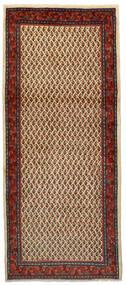 Sarough Mir Teppe 86X200 Ekte Orientalsk Håndknyttet Teppeløpere Mørk Brun/Mørk Rød (Ull, Persia/Iran)