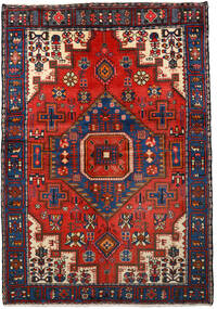 Nahavand Teppe 133X193 Ekte Orientalsk Håndknyttet Svart/Mørk Rød (Ull, Persia/Iran)