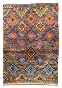 Moroccan Berber - Afghanistan Teppe 89X130 Ekte Moderne Håndknyttet Lysbrun/Mørk Brun (Ull, Afghanistan)