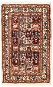 Moud Teppe 62X98 Ekte Orientalsk Håndknyttet Mørk Rød/Beige (Ull/Silke, Persia/Iran)