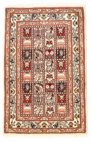 Moud Teppe 60X95 Ekte Orientalsk Håndknyttet Mørk Brun/Beige (Ull/Silke, Persia/Iran)