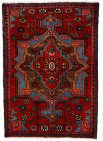 Nahavand Teppe 68X100 Ekte Orientalsk Håndknyttet Mørk Rød/Mørk Brun (Ull, Persia/Iran)