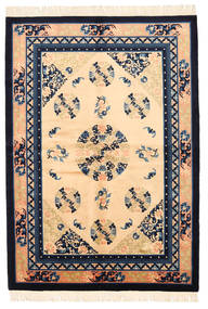 Kina Antikkfinish Teppe 137X198 Ekte Orientalsk Håndknyttet Mørk Beige/Mørk Lilla (Ull, Kina)