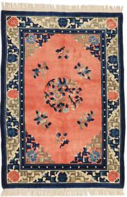 Kina Antikkfinish Teppe 125X182 Ekte Orientalsk Håndknyttet Orange/Mørk Blå (Ull, Kina)