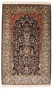 Kashmir Ren Silke Teppe 82X132 Ekte Orientalsk Håndknyttet Svart/Mørk Brun (Silke, India)