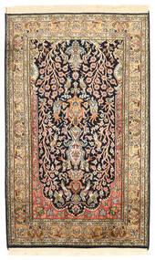 Kashmir Ren Silke Teppe 76X125 Ekte Orientalsk Håndknyttet Mørk Brun/Mørk Beige (Silke, India)