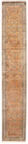 Kashmir Ren Silke Teppe 81X456 Ekte Orientalsk Håndknyttet Teppeløpere Mørk Rød/Svart (Silke, India)