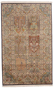 Kashmir Ren Silke Teppe 96X154 Ekte Orientalsk Håndknyttet Brun/Lysbrun (Silke, India)
