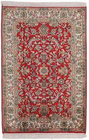 Kashmir Ren Silke Teppe 63X92 Ekte Orientalsk Håndknyttet Lys Grå/Mørk Brun (Silke, India)