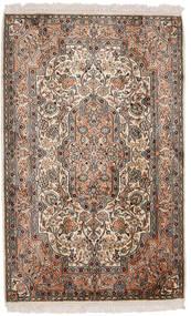 Kashmir Ren Silke Teppe 81X129 Ekte Orientalsk Håndknyttet Brun/Mørk Grå (Silke, India)