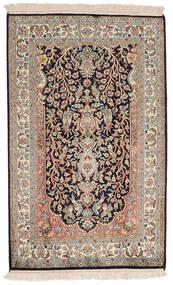 Kashmir Ren Silke Teppe 78X126 Ekte Orientalsk Håndknyttet Lys Grå/Mørk Brun (Silke, India)