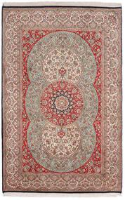Kashmir Ren Silke Teppe 122X189 Ekte Orientalsk Håndknyttet Lys Grå/Mørk Rød (Silke, India)