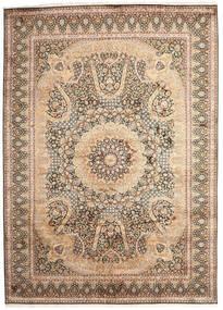 Kashmir Ren Silke Teppe 246X345 Ekte Orientalsk Håndknyttet Beige/Brun (Silke, India)