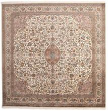 Kashmir Ren Silke Teppe 240X240 Ekte Orientalsk Håndknyttet Kvadratisk Lys Grå/Mørk Brun (Silke, India)