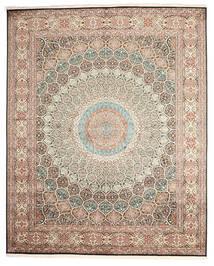 Kashmir Ren Silke Teppe 248X307 Ekte Orientalsk Håndknyttet Lys Grå/Mørk Grå (Silke, India)