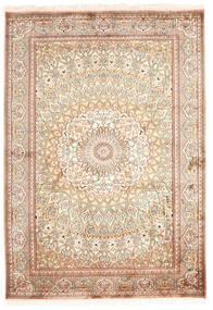 Kashmir Ren Silke Teppe 130X187 Ekte Orientalsk Håndknyttet Beige/Mørk Brun (Silke, India)
