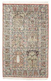 Kashmir Ren Silke Teppe 77X127 Ekte Orientalsk Håndknyttet Mørk Brun/Beige (Silke, India)