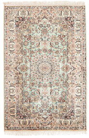 Kashmir Ren Silke Teppe 84X126 Ekte Orientalsk Håndknyttet Brun/Lysbrun (Silke, India)