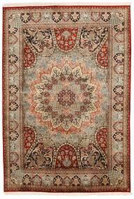 Kashmir Ren Silke Teppe 150X224 Ekte Orientalsk Håndknyttet Mørk Brun/Lysbrun (Silke, India)