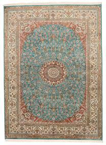 Kashmir Ren Silke Teppe 159X218 Ekte Orientalsk Håndknyttet Brun/Mørk Grå (Silke, India)