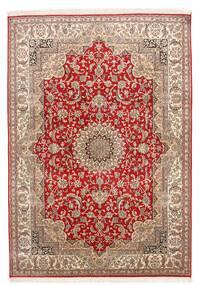 Kashmir Ren Silke Teppe 152X219 Ekte Orientalsk Håndknyttet Mørk Rød/Mørk Brun (Silke, India)