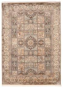 Kashmir Ren Silke Teppe 176X246 Ekte Orientalsk Håndknyttet Lys Grå/Brun (Silke, India)