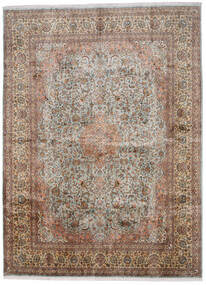 Kashmir Ren Silke Teppe 276X376 Ekte Orientalsk Håndknyttet Lys Grå/Brun Stort (Silke, India)