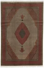 Tabriz 60 Raj Silkerenning Teppe 200X300 Ekte Orientalsk Håndknyttet Mørk Rød/Mørk Brun (Ull/Silke, Persia/Iran)