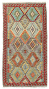 Kelim Afghan Old Style Teppe 104X198 Ekte Orientalsk Håndvevd Lys Grå/Mørk Rød (Ull, Afghanistan)