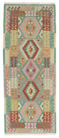 Kelim Afghan Old Style Teppe 79X198 Ekte Orientalsk Håndvevd Teppeløpere Mørk Grønn/Brun (Ull, Afghanistan)