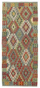 Kelim Afghan Old Style Teppe 83X202 Ekte Orientalsk Håndvevd Teppeløpere Lysgrønn/Rust (Ull, Afghanistan)