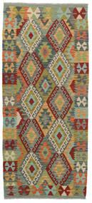 Kelim Afghan Old Style Teppe 86X200 Ekte Orientalsk Håndvevd Teppeløpere Mørk Grå/Lysgrønn (Ull, Afghanistan)