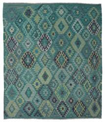 Kelim Afghan Old Style Teppe 215X245 Ekte Orientalsk Håndvevd Turkis Blå/Blå (Ull, Afghanistan)