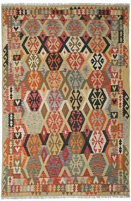 Kelim Afghan Old Style Teppe 205X311 Ekte Orientalsk Håndvevd Mørk Rød/Mørk Beige (Ull, Afghanistan)