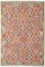 Kelim Afghan Old Style Teppe 206X300 Ekte Orientalsk Håndvevd Mørk Rød/Lys Grå (Ull, Afghanistan)